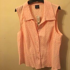 Tribal pink sleeveless button shirt,sz 12, NWT $69